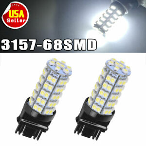 2x White 3157 3156 Car Reverse Light Backup 68 Smd Led Bulb Lights 3057 3047