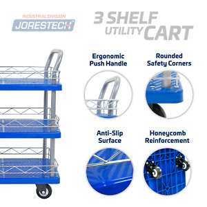Platform Utility Cart 330lbs Triple Level Dolly Push Hand Truck Rubber Casters