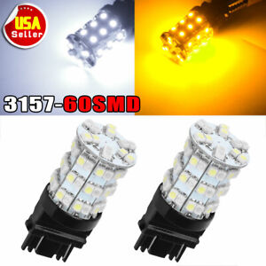 2 X White Amber Dual Color 3157 60 Smd Led Tail Brake Stop Lights Bulb 3057 3457