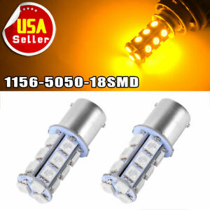 2x Amber Yellow 1156 Ba15s 5050 18smd Led Light Bulbs Turn Signal Backup Reverse