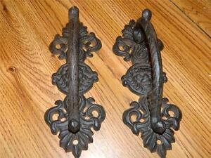 Set Of 2 Ornate Wrought Iron Lions Head Door Gate Entry Pull Handles 9 1 4