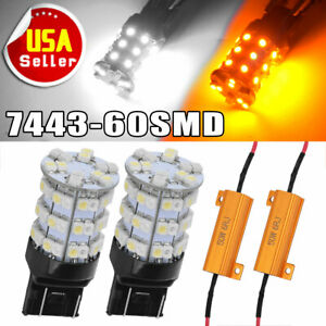2x Amber White 7443 7440 60smd Switchback Led Light Bulbs Turn Signal Resistors