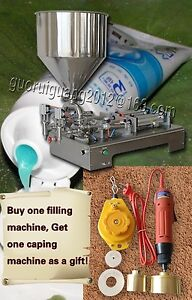 Two Spouts Paste Liquid Cream Sauce Filling Machine 1000ml with Capping Machine