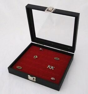 36 Ring Glass Top Jewelry Display Case Box Red