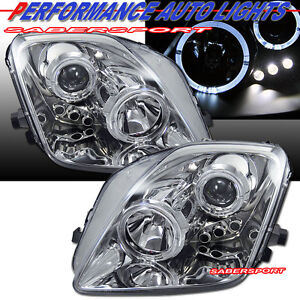 Set Of Pair Projector Headlights W Halo Rims For 1997 2001 Honda Prelude