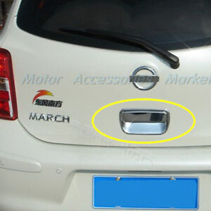 New Chrome Rear Trunk Handle Cover Trim For Nissan March Micra 2011 2015