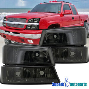 For 2003 2007 Chevy Silverado Avalanche Headlights Smoke bumper Signal Lamps
