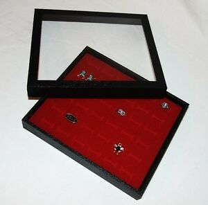 36 Ring Clear Top Jewelry Display Case Box Red
