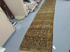 Antique Kurdish Bijar Hand Knotted Wool Rug 3 7 X 17 1 Runner