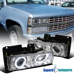 1988 1998 Chevy Silverado Dual Halo Led Projector Headlights Lamps Chrome