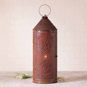 22 Decorative Punched Tin Lantern In Rustic Tin Primitive Accent Light