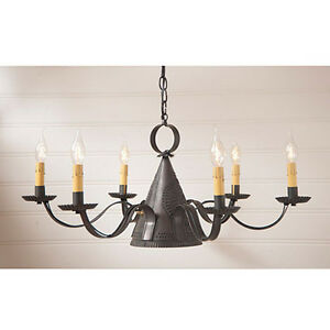 Madison 6 Arm Pierced Tin Chandelier In Black Finish Primitive Country Lights