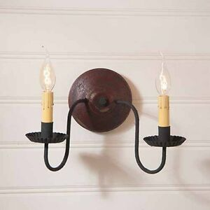 Irvins Tinware Ashford Americana Two Arm Wall Sconce Light In Plantation Red