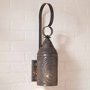 15 Decorative Punched Tin Electric Wall Lantern In Blackened Tin