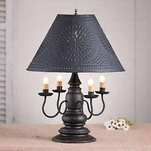 Harrison 4 Arm Wooden Table Lamp W Tin Shade Primitive Americana Lighting