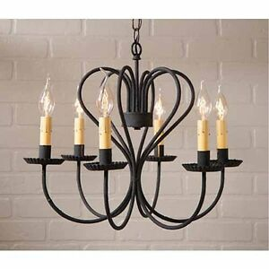 Large Georgetown Country Farmhouse 6 Arm Metal Chandelier In Black