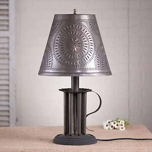 Round Seven Mold Table Lamp W Punched Tin Shade In Black Colonial Lighting