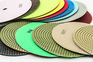 7 Inch Diamond Polishing Pads 15 Piece Set Wet dry Granite Concrete Stone Marble