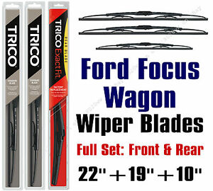 2000 2007 Ford Focus Wagon Wiper Blades 3pk Front Rear 30221 30190 10 1