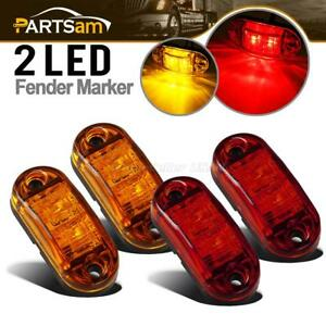 Oval Amber Red 2 Diode Led Trailer Truck Lights Clearance Side Marker Light 2 5