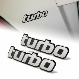 2 X Universal Black Border Silver Aluminum Turbo Logo Sticker Decal Emblem Badge