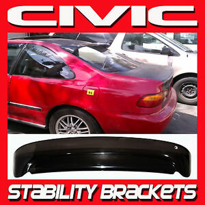 92 95 Civic Coupe Rear Roof Window Visor With Stability Brackets Sun Deflector