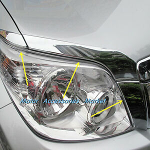 6pcs Chrome Front Light Eyelid Trim For Toyota Prado Fj150 2010 2011 2012 2013