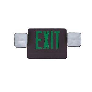 Green And Black Exit Emergency Light With Side Or Top Mounting Heads 6 Pack