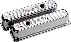 Billet Specialties Cross Flags Polished Alum Sbc Center Bolt Tall Valve Covers