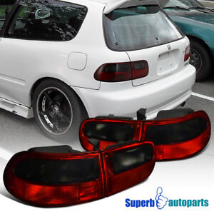 For 1992 1995 Honda Civic 2dr Hatchback Tail Lights Brake Lamps Red Smoke
