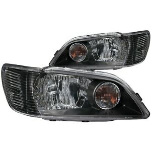 Set Of Pair Oe Style Black Headlights For 2002 2003 Mitsubishi Lancer