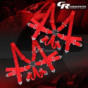 2x 6 Point 3 Wide Red Strap Harness Safety Camlock Style Racing Seat Belt Bolts
