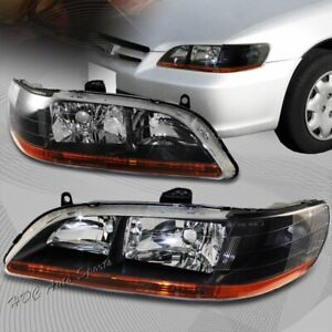 For 1998 2002 Honda Accord Black Housing Clear Lens Amber Reflector Headlights