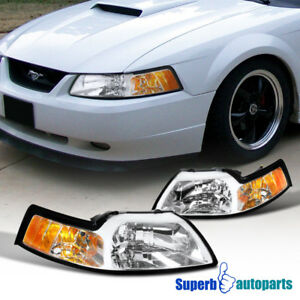 For 1999 2004 Ford Mustang V6 Gt Head Lights W corner Lamps Clear