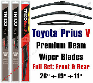 Wiper Blades 3 pack Front Rear Wipers Fit 2012 Toyota Prius V 19260 190 11a