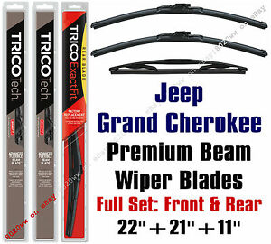 Jeep Grand Cherokee 2014 Wiper Blades 3 pk Front Rear Wipers 19220 19210 11a
