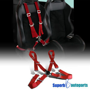 4 Point Camlock Jdm Racing Seat Belt Safety Harness Red Kit