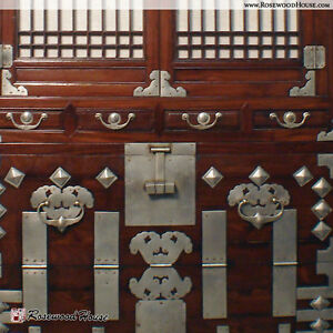Antique Nickel Plated Korean Chest Art Cabinet 1880 Handmade In Persimmon Wood