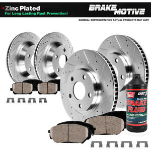 Front Rear Drilled Brake Rotors Ceramic Pads For Lexus Es350 Toyota Camry Avalon
