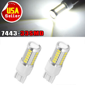2x White 7443 5050 13smd Led Light Bulbs Tail Brake Stop Backup Reverse T20 7440