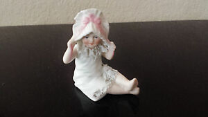 Gebruder Heubach Bisque Porcelain Piano Baby Doll Figurine Antique Unmarked