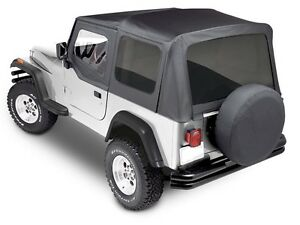 Premium Replacement Soft Top Kit For 1988 1995 Jeep Wrangler Yj Black Sottop