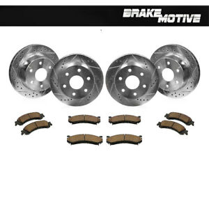 Front rear Drill Slot Brake Rotors Ceramic Pads For Chevy Silverado Escalade