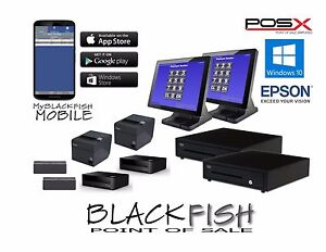 All New 2 Station Complete Blackfish Bar Restaurant Pos System Touch Windows8 10