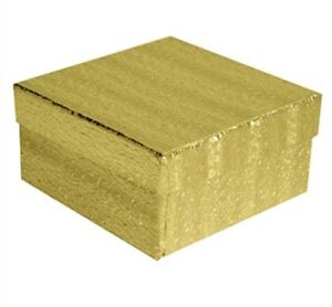 Wholesale 100 Gold Cotton Fill Jewelry Packaging Gift Boxes 3 1 2 X 3 1 2 X 2