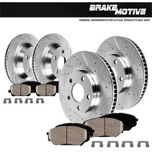 Front Rear Drill Slot Brake Rotors And Ceramic Pads For Dodge Charger Challenger