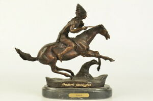 Frederic Remington Bronze Statue Native American Indian Horse 10 Nr Sculpture