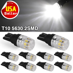 10x Pure White T10 Led Light Dome Map License Plate Light Bulbs W5w 168 194 2825