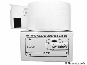 32 Rolls Of 260 Lg Address Labels In Mini cartons For Dymo Labelwriters 30321