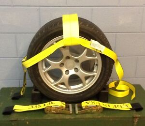Car Wheel Nets Tow Dolly Straps Adjustable Tie Down With Ratchets Usa Yellow 4 T